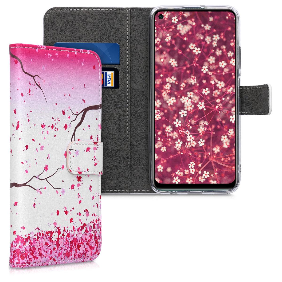 Růžové kožené pouzdro / obal peněženka s třešňovými květy pro Huawei P40 Lite