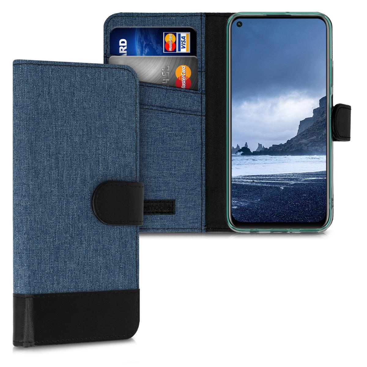 Tmavé modré textilní pouzdro / obal jako peněženka pro Huawei P40 Lite