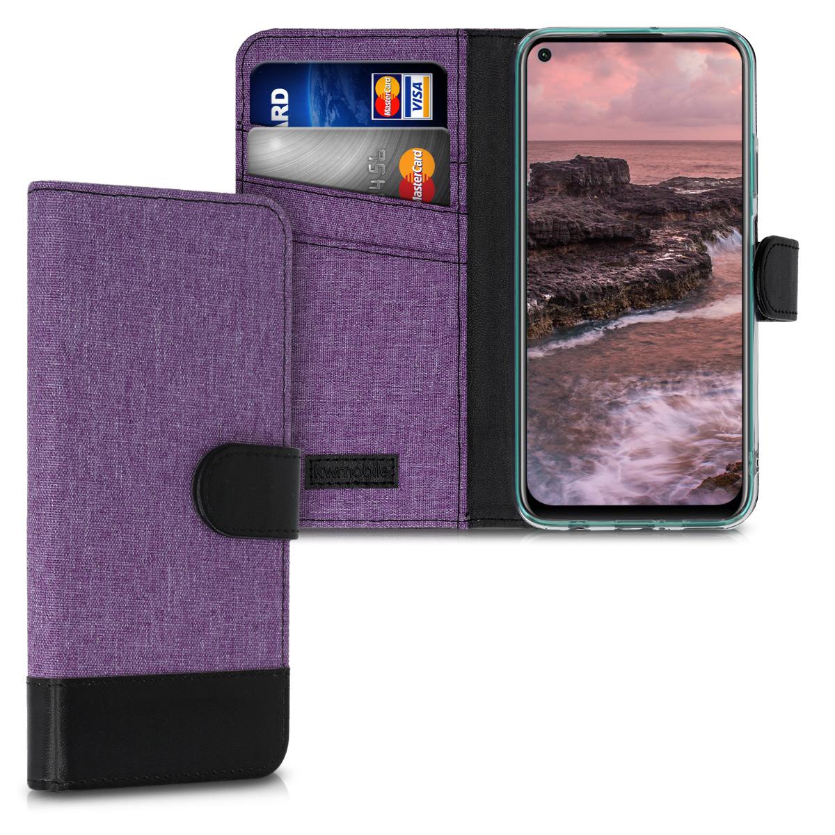 Fialové textilní pouzdro / obal jako peněženka pro Huawei P40 Lite