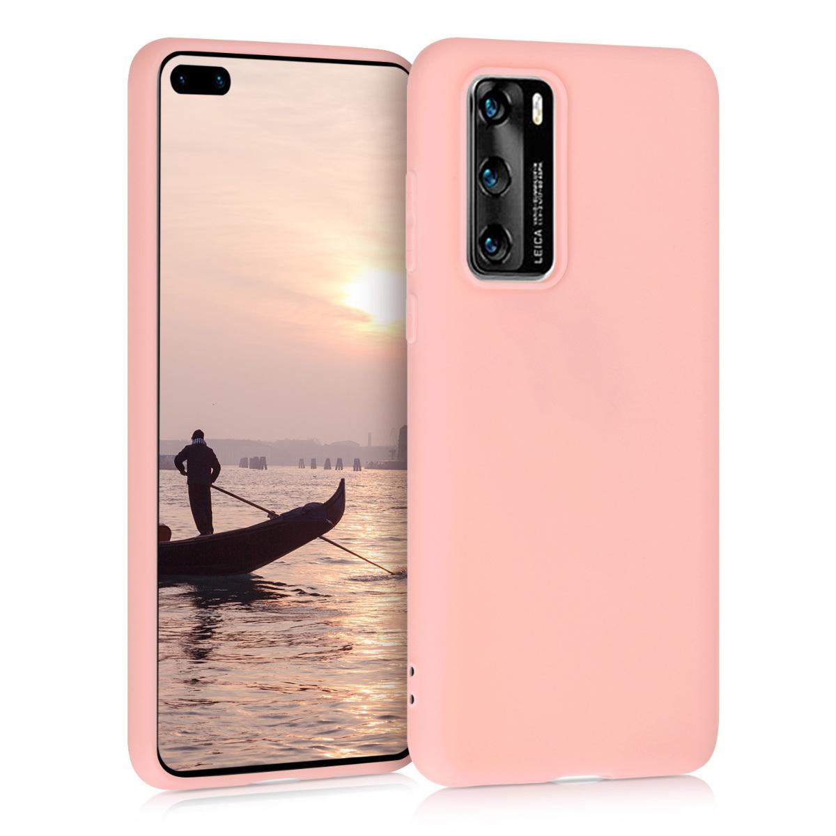 Světlé růžové silikonové pouzdro / obal pro Huawei P40