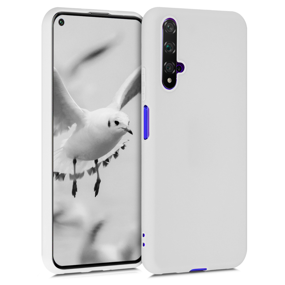 Světle šedé silikonové pouzdro / obal pro Huawei Nova 5T