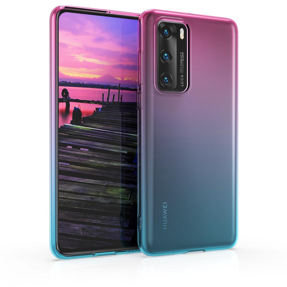 Dvoubarevné modré růžové průhledné silikonové pouzdro / obal pro Huawei P40