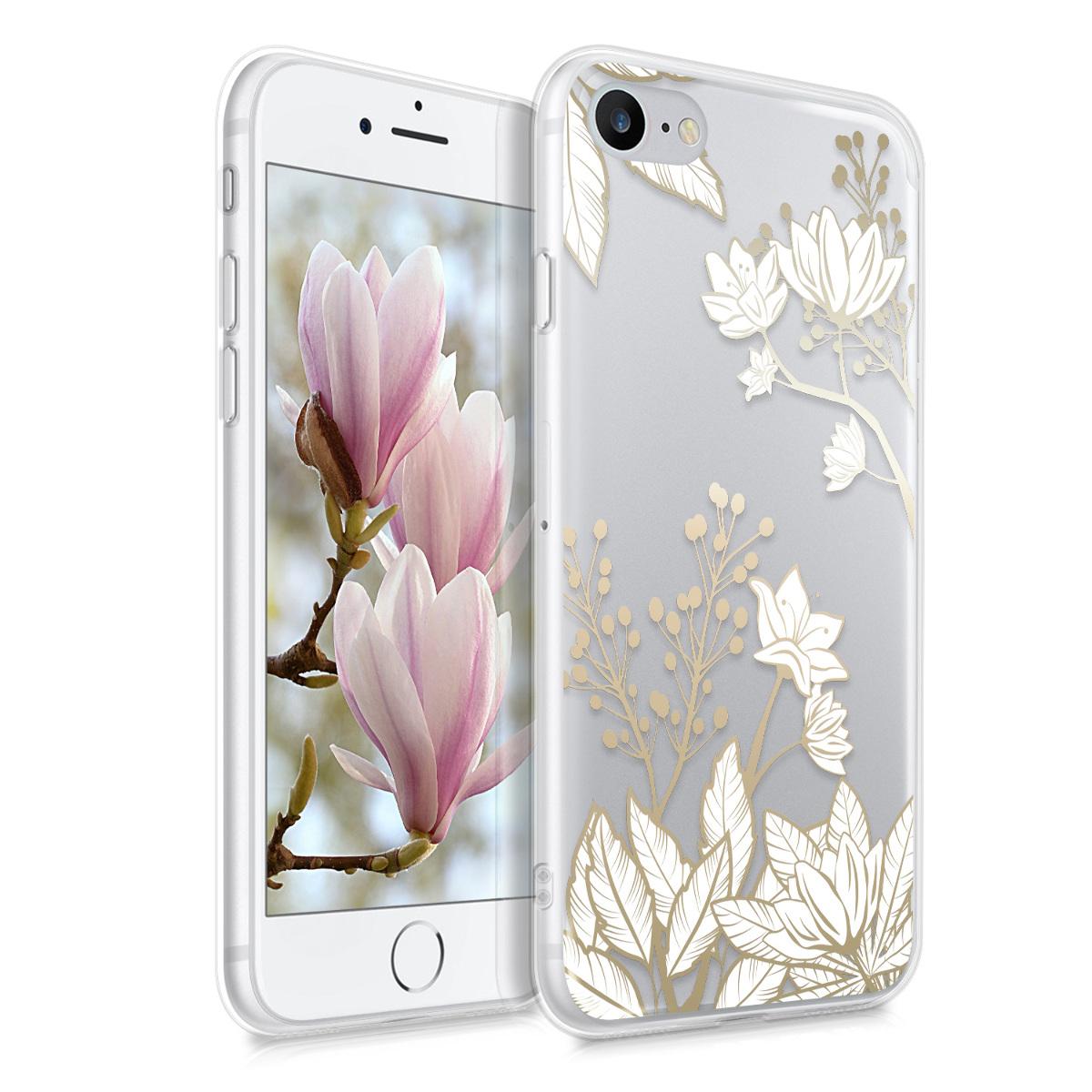 Kvalitní silikonové TPU pouzdro pro Apple iPhone 7 / 8 / SE  - Floral Leaf Mix Gold | White | Transparent
