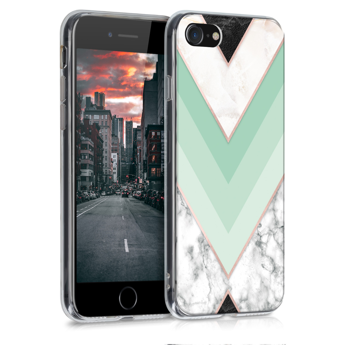 Kvalitní silikonové TPU pouzdro pro Apple iPhone 7 / 8 / SE  - Mramor Mint | Rose Gold | White