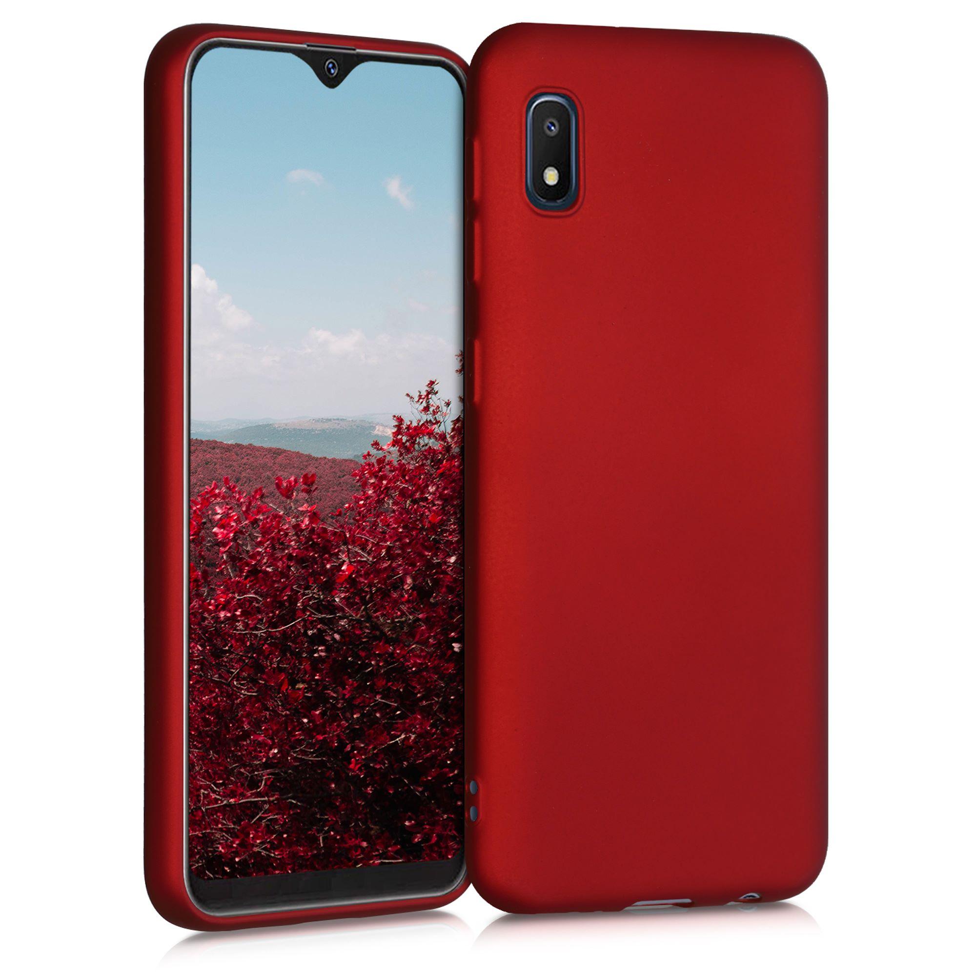 Kvalitní silikonové TPU pouzdro pro Samsung A10e - metalické tmavě červená