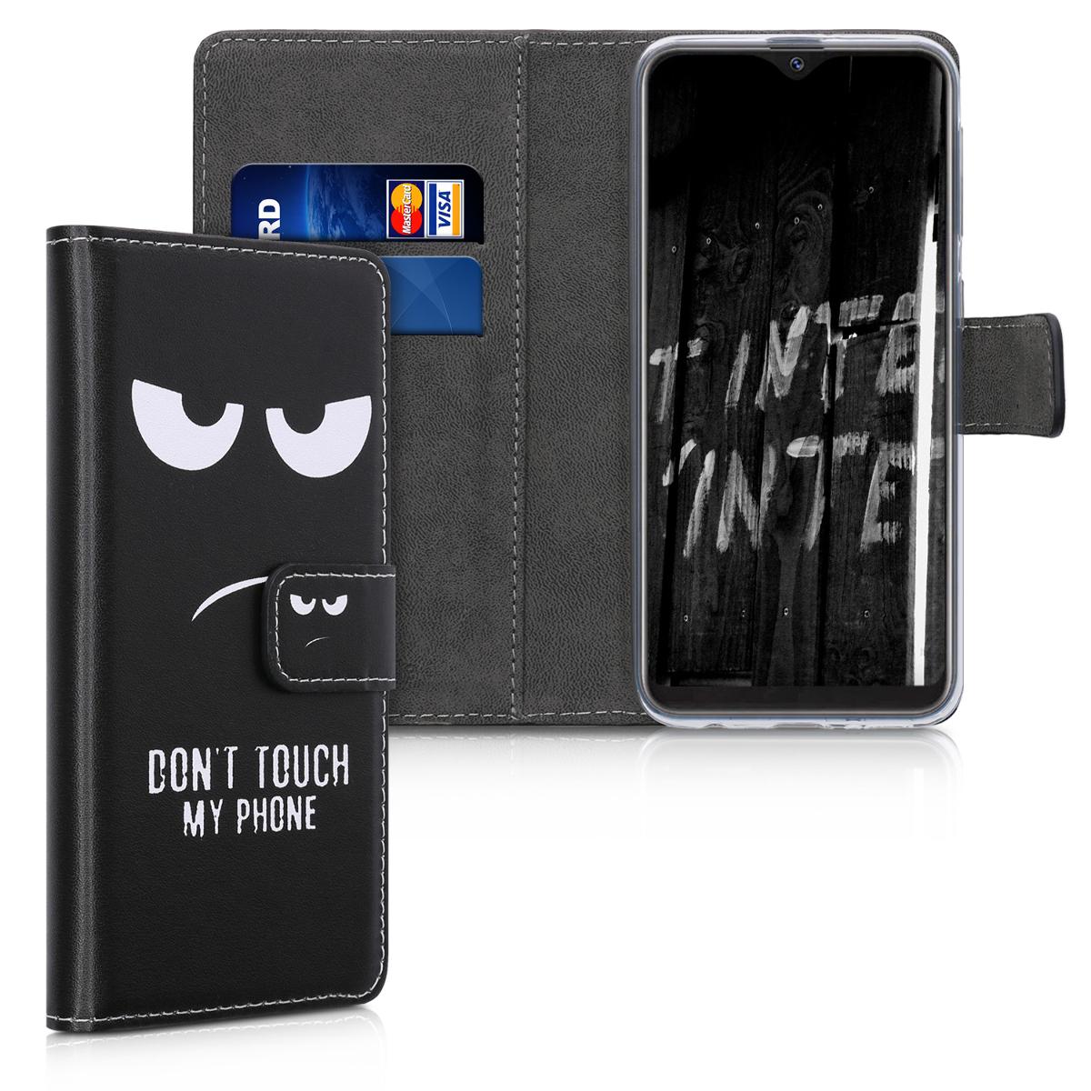 Kožené pouzdro pro Samsung A10e - Nedotýkejte My Phone bílé / černé