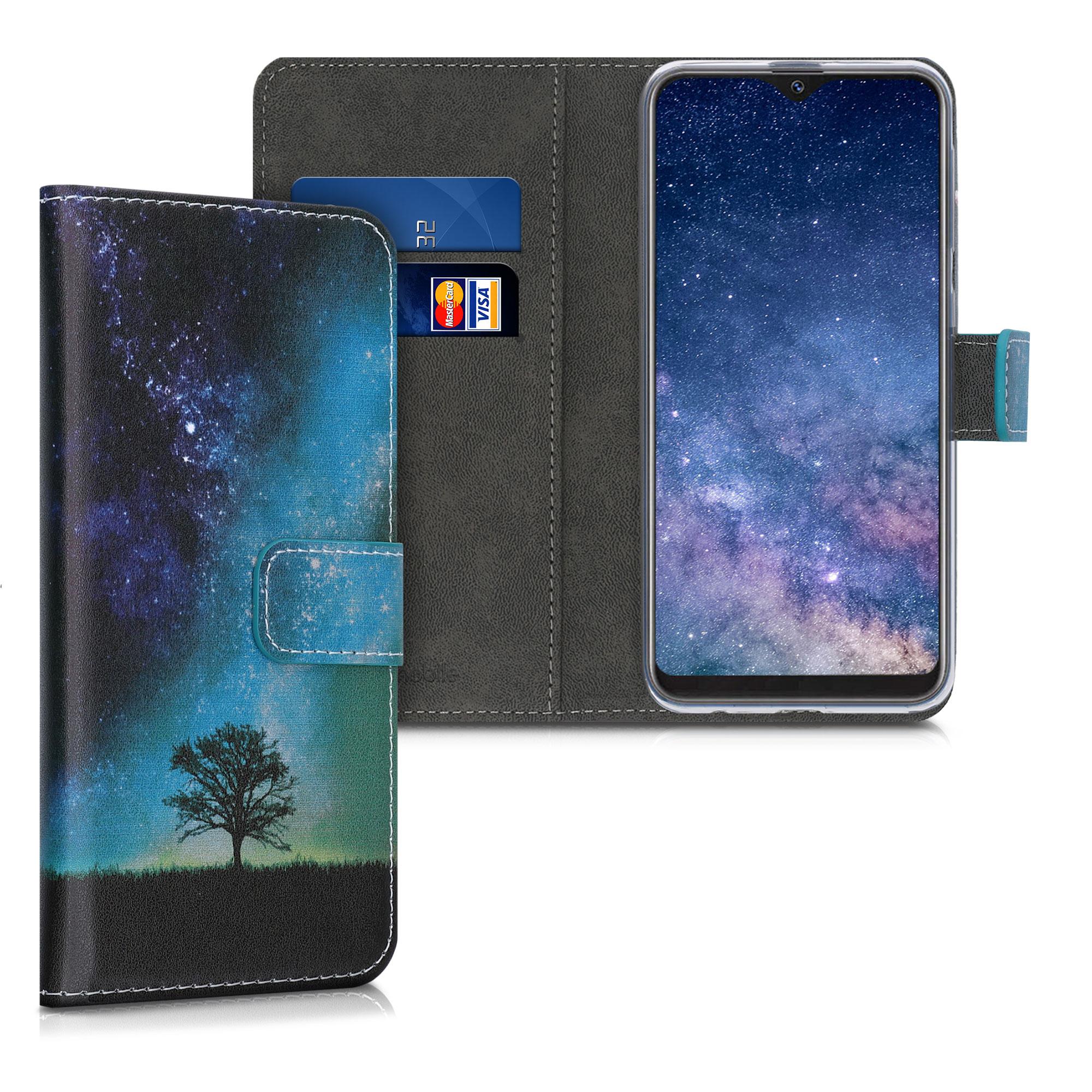 Kožené pouzdro pro Samsung A10e - Cosmic Nature modrá / šedá / černá