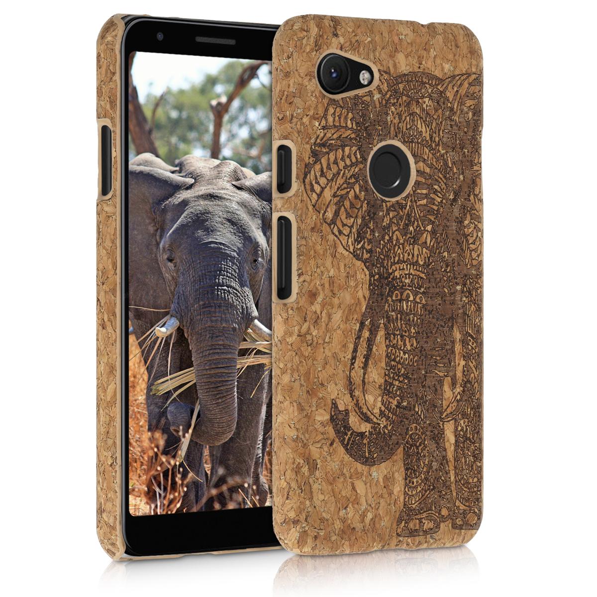 Korkové pouzdro | obal pro Google Pixel 3a - Motiv slona Tmavě hnědá / světle hnědá