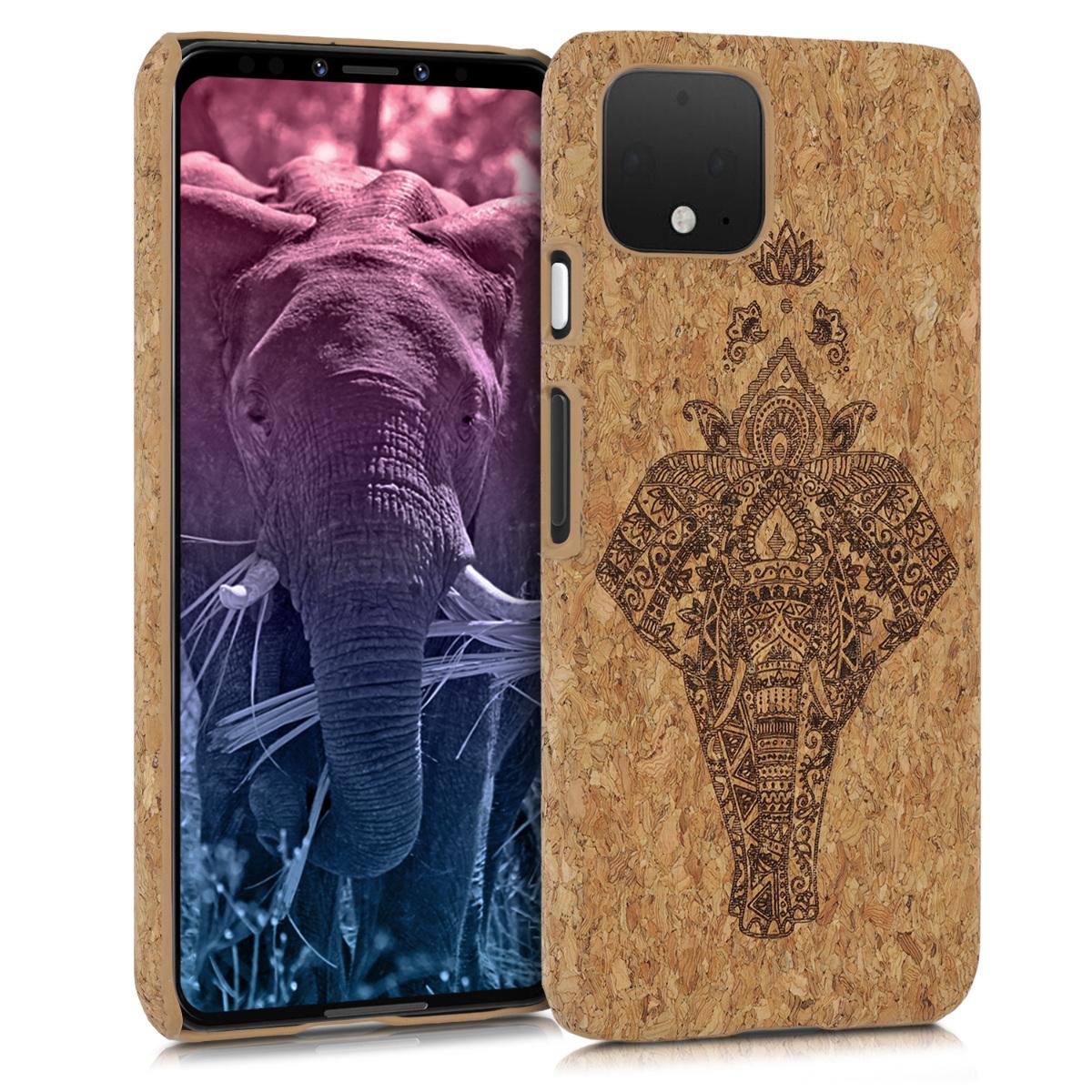Korkové pouzdro | obal pro Google Pixel 4 - Náčrtek slona Tmavě hnědá / světle hnědá