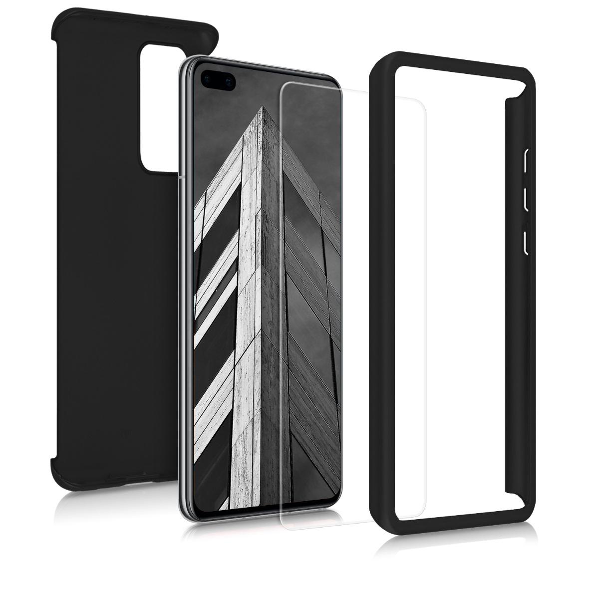 Pevné metalické černé oboustranné pouzdro / obal s fólií pro Huawei P40