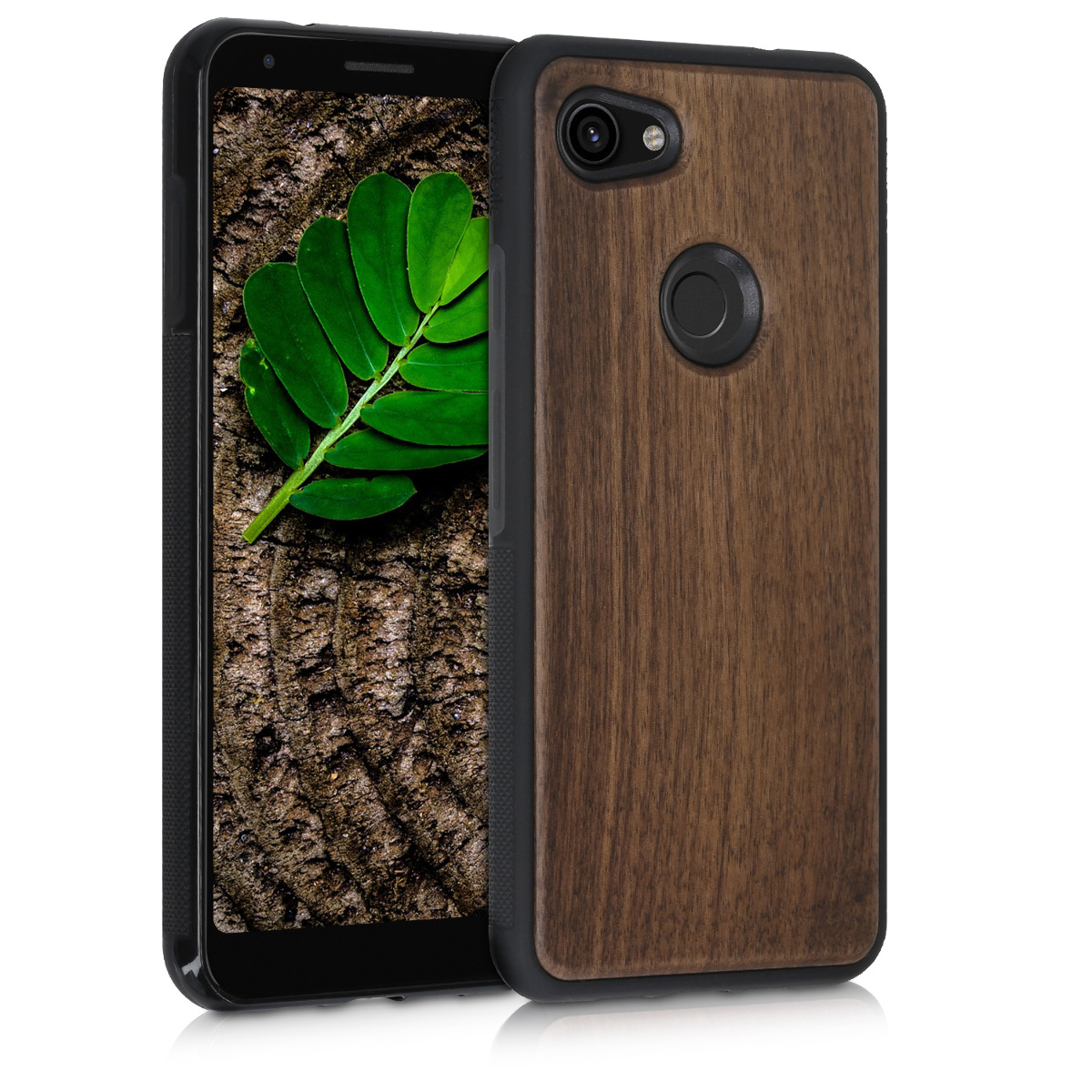 Dřevěné pouzdro | obal pro Google Pixel 3a XL - Tmavě hnědá