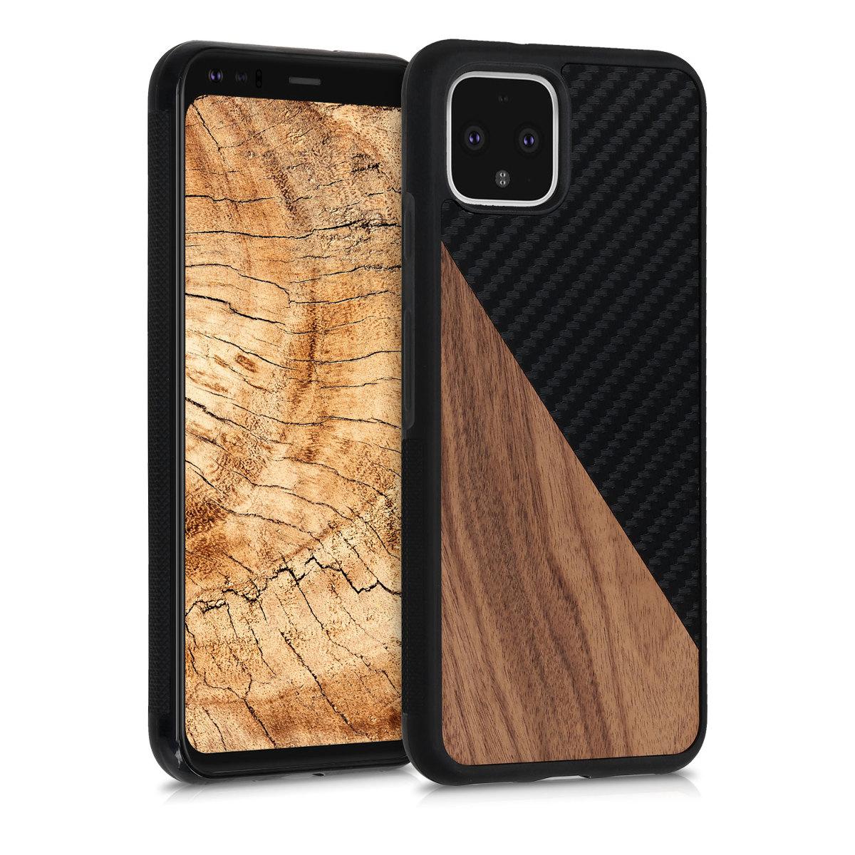 Dřevěné pouzdro | obal pro Google Pixel 4 -  Tmavě hnědá / černá