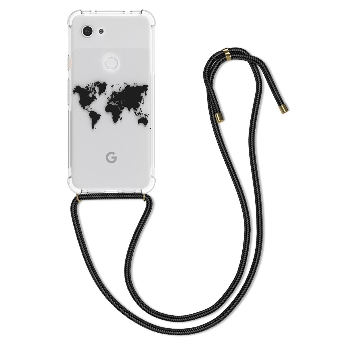 Kvalitní silikonové TPU pouzdro | obal pro Google Pixel 3a - Cestovní obrys černá / průhledná