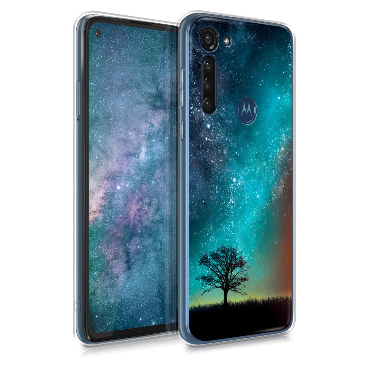Kvalitní silikonové TPU pouzdro | obal pro Motorola Moto G8 Power - Cosmic Nature Modrá / Šedá / Černá