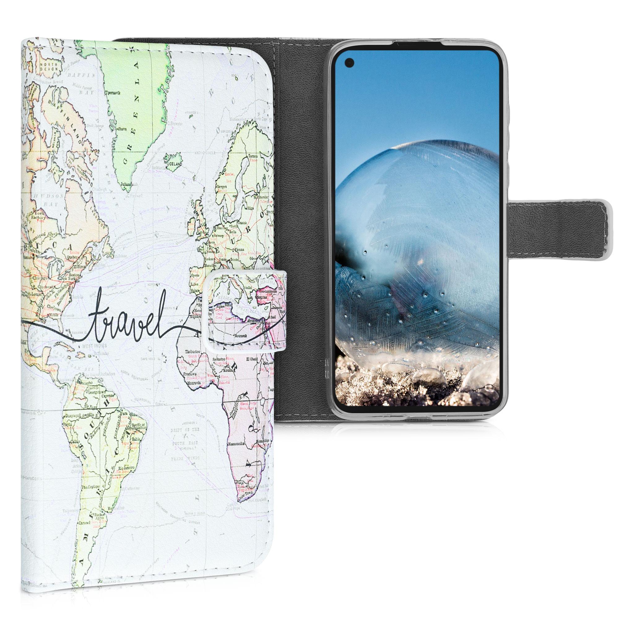 Kožené pouzdro | obal pro Motorola Moto G8 Power - Cestovní černá / vícebarevná