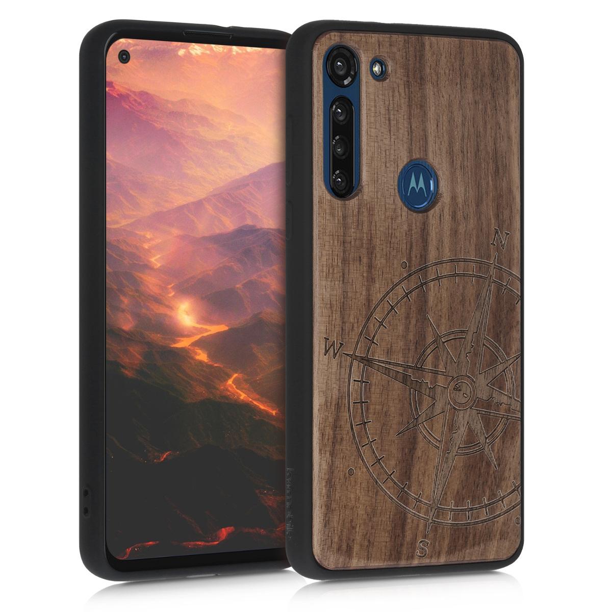 Dřevěné pouzdro | obal pro Motorola Moto G8 Power - Navigační kompas Tmavě hnědá