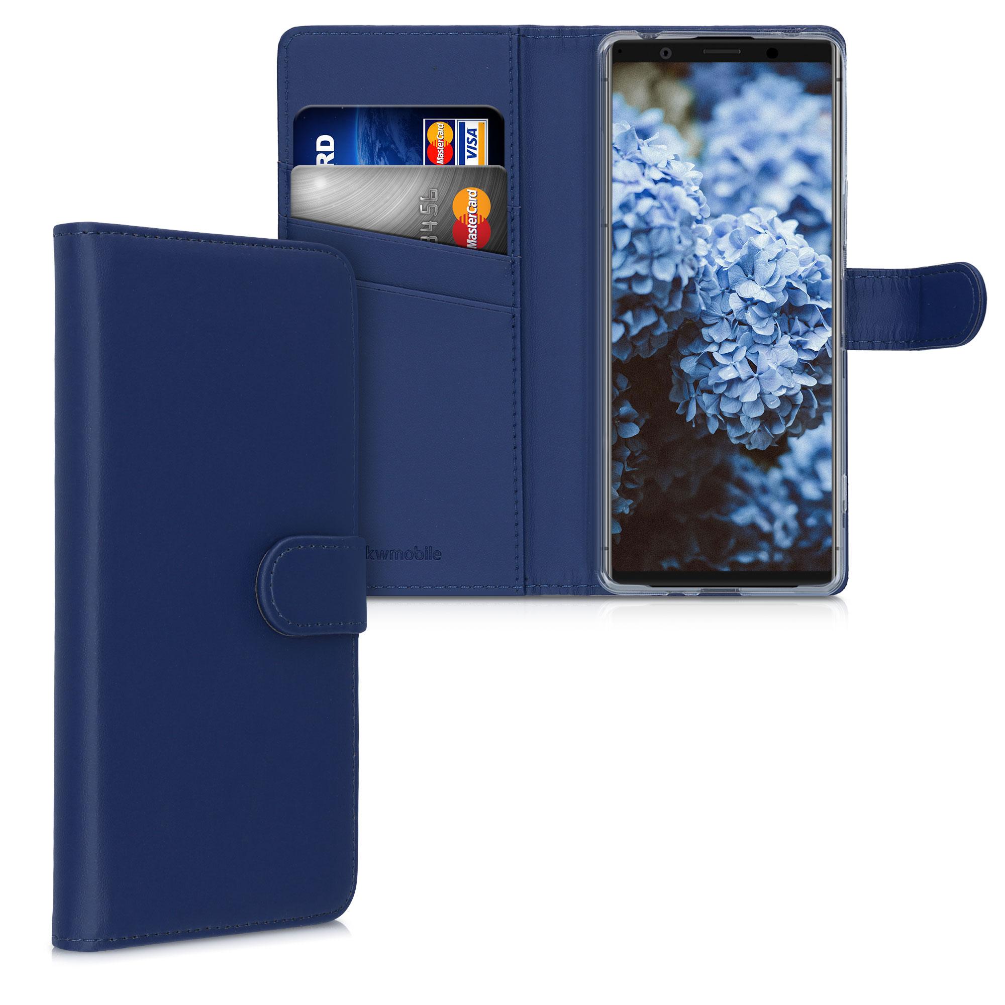 Kožené pouzdro   obal pro Sony Xperia 1 II - tmavě modré