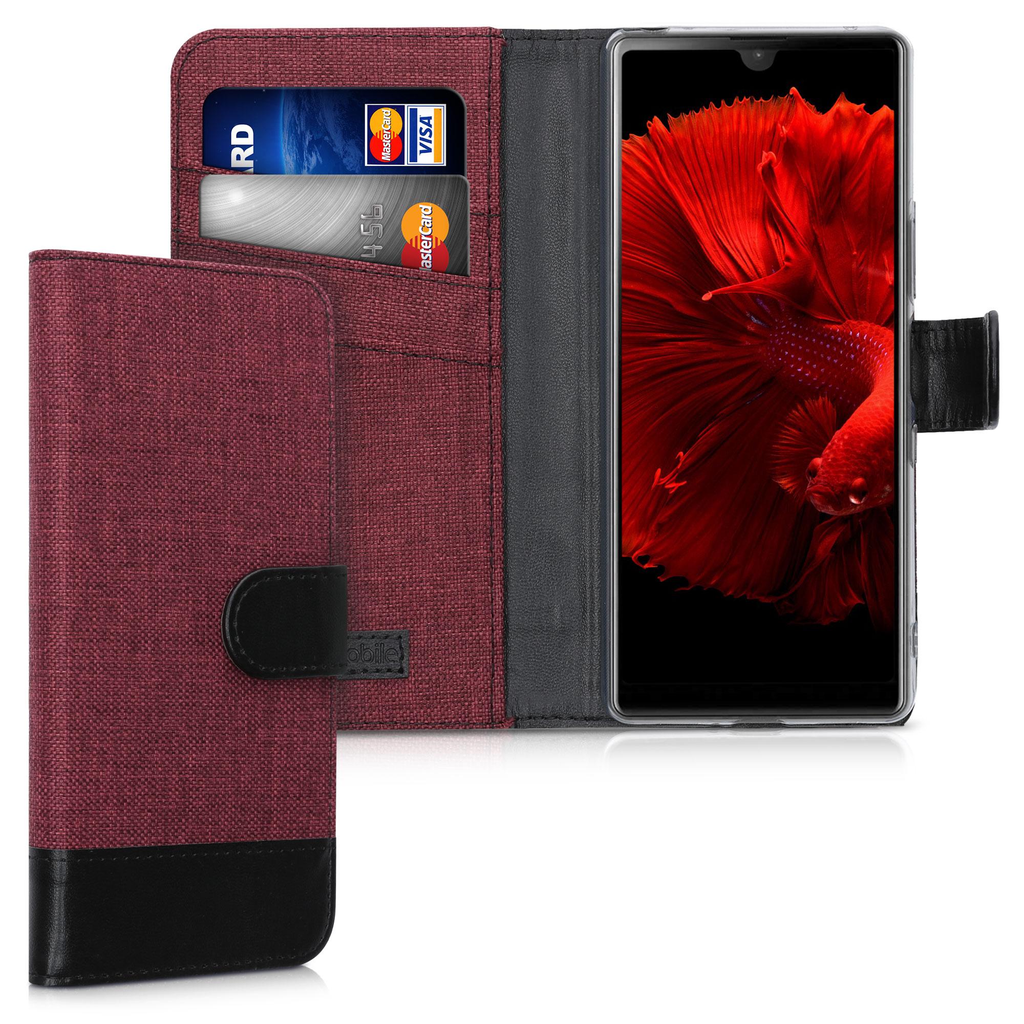 Textilní látkové pouzdro | obal pro Sony Xperia L4 - tmavé červené / černé