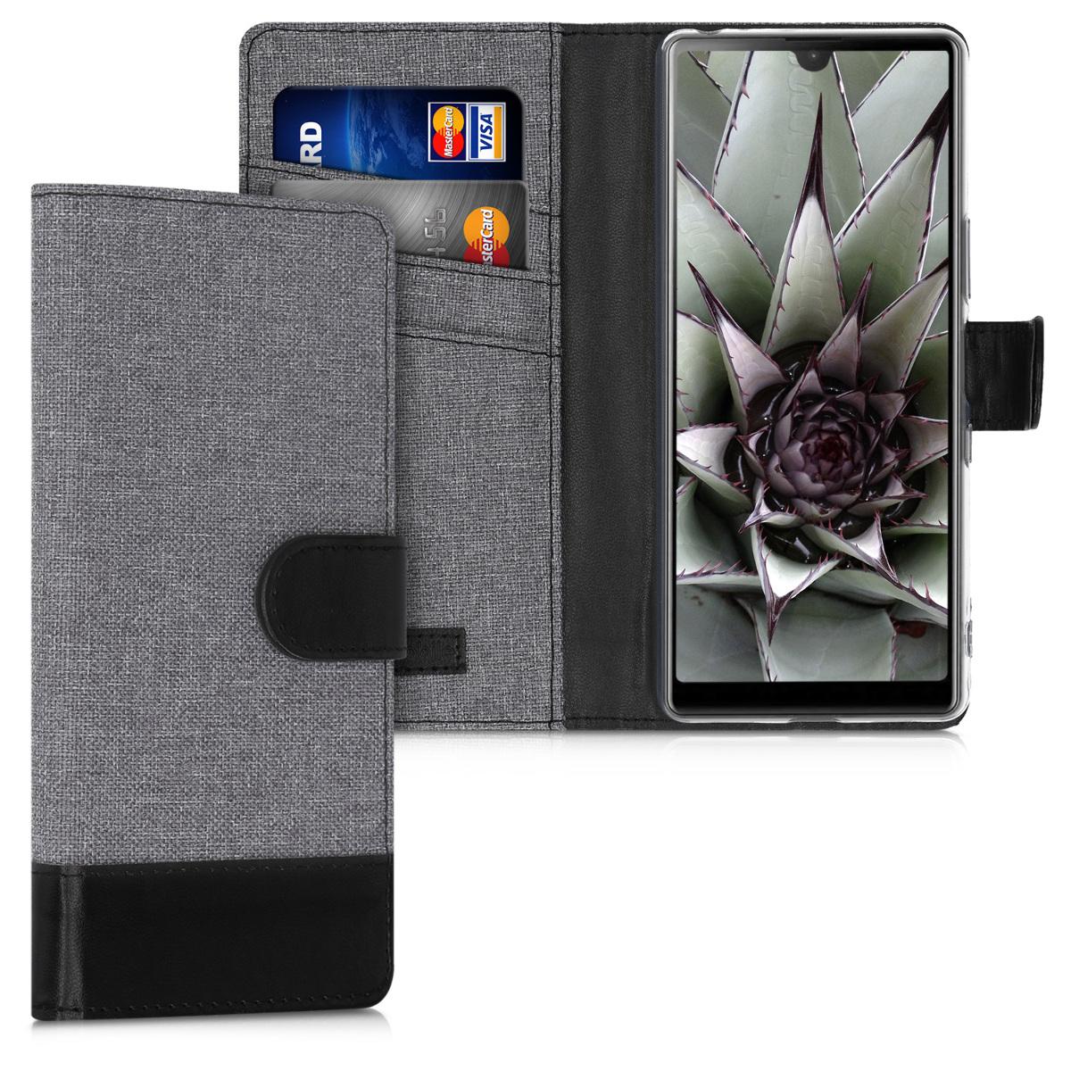 Textilní látkové pouzdro | obal pro Sony Xperia L4 - šedé/ černé