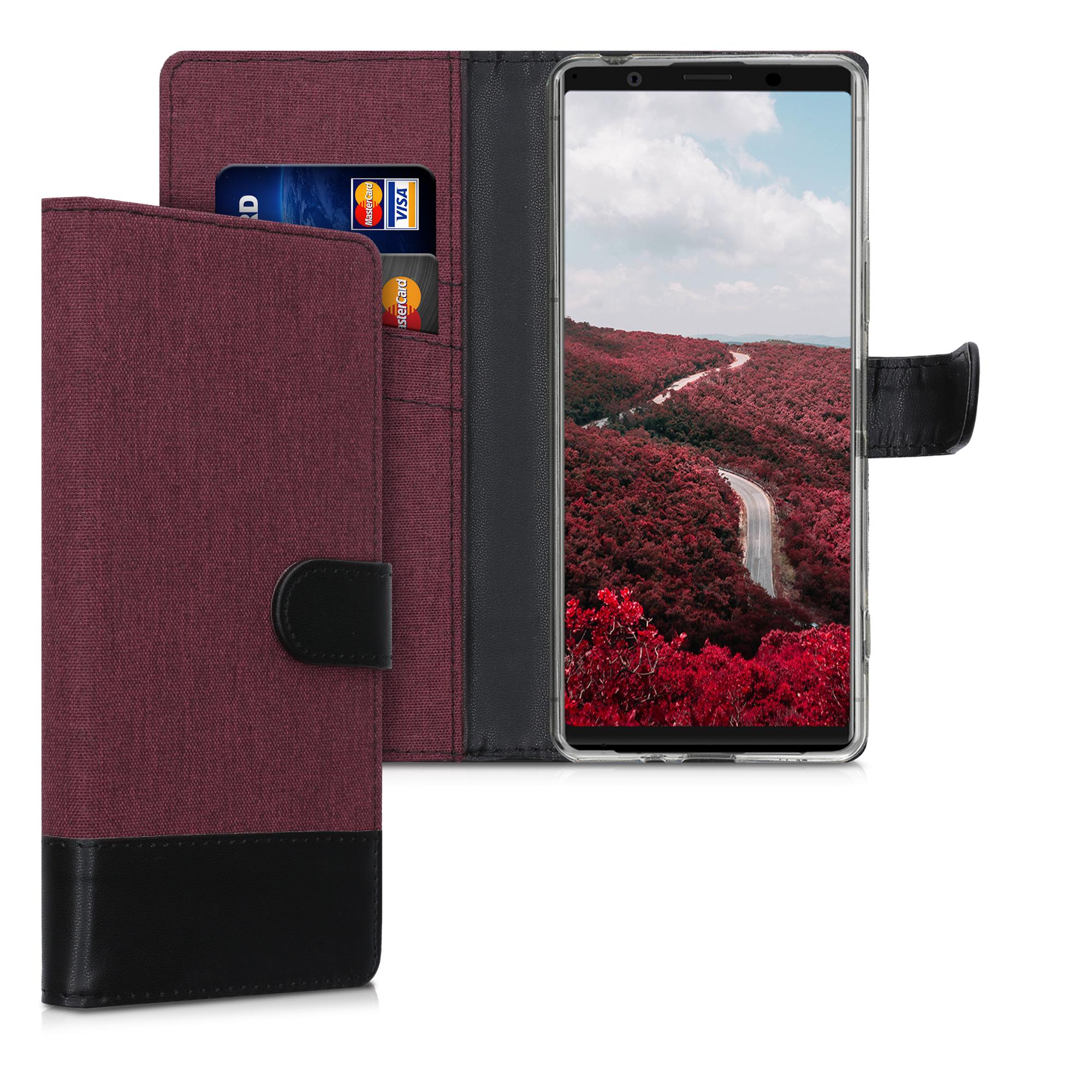 Textilní látkové pouzdro   obal pro Sony Xperia 1 II - tmavé červené / černé