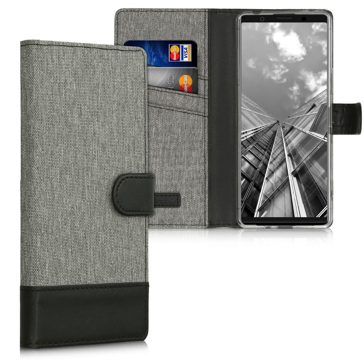 Textilní látkové pouzdro   obal pro Sony Xperia 1 II - šedé/ černé