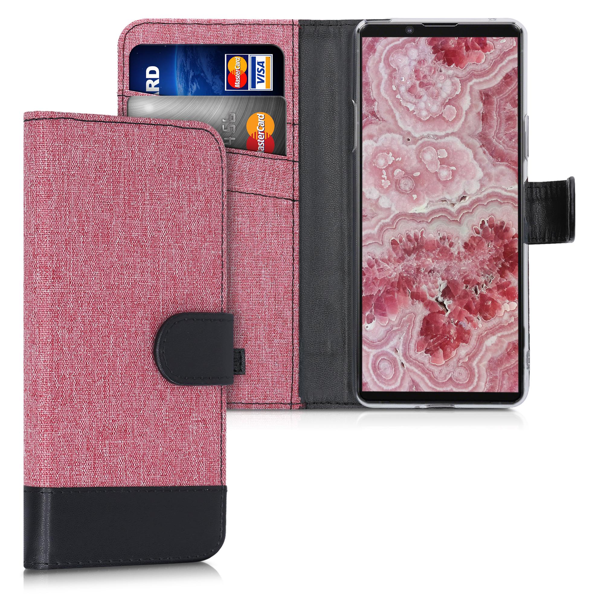 Textilní látkové pouzdro | obal pro Sony Xperia 10 II - Dusty růžové / černé