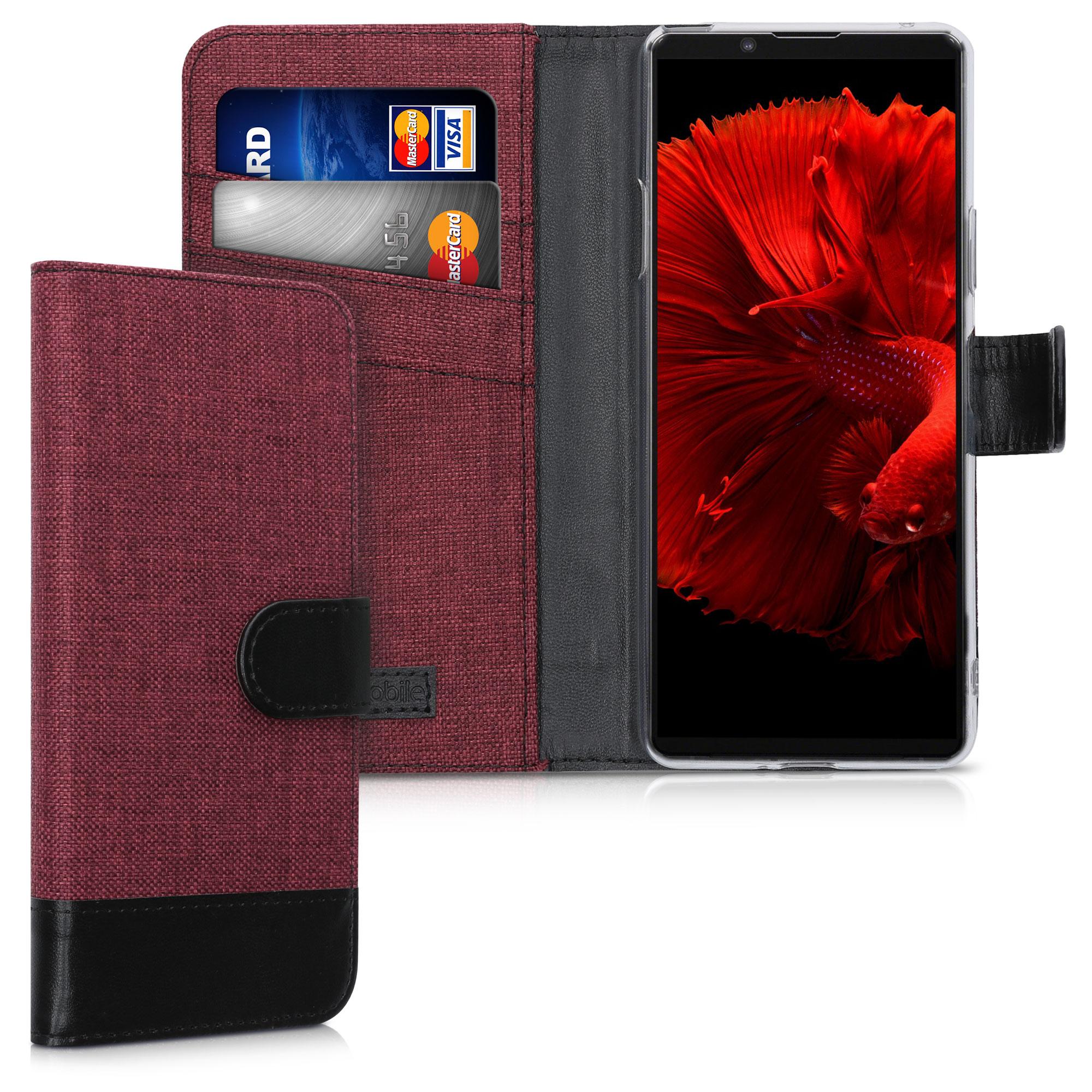 Textilní látkové pouzdro | obal pro Sony Xperia 10 II - tmavé červené / černé