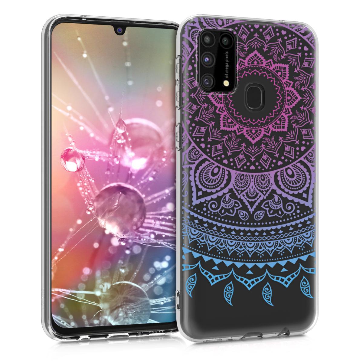 Kvalitní silikonové TPU pouzdro pro Samsung M31 - indické slunce modré / tmavě růžová / transparentní