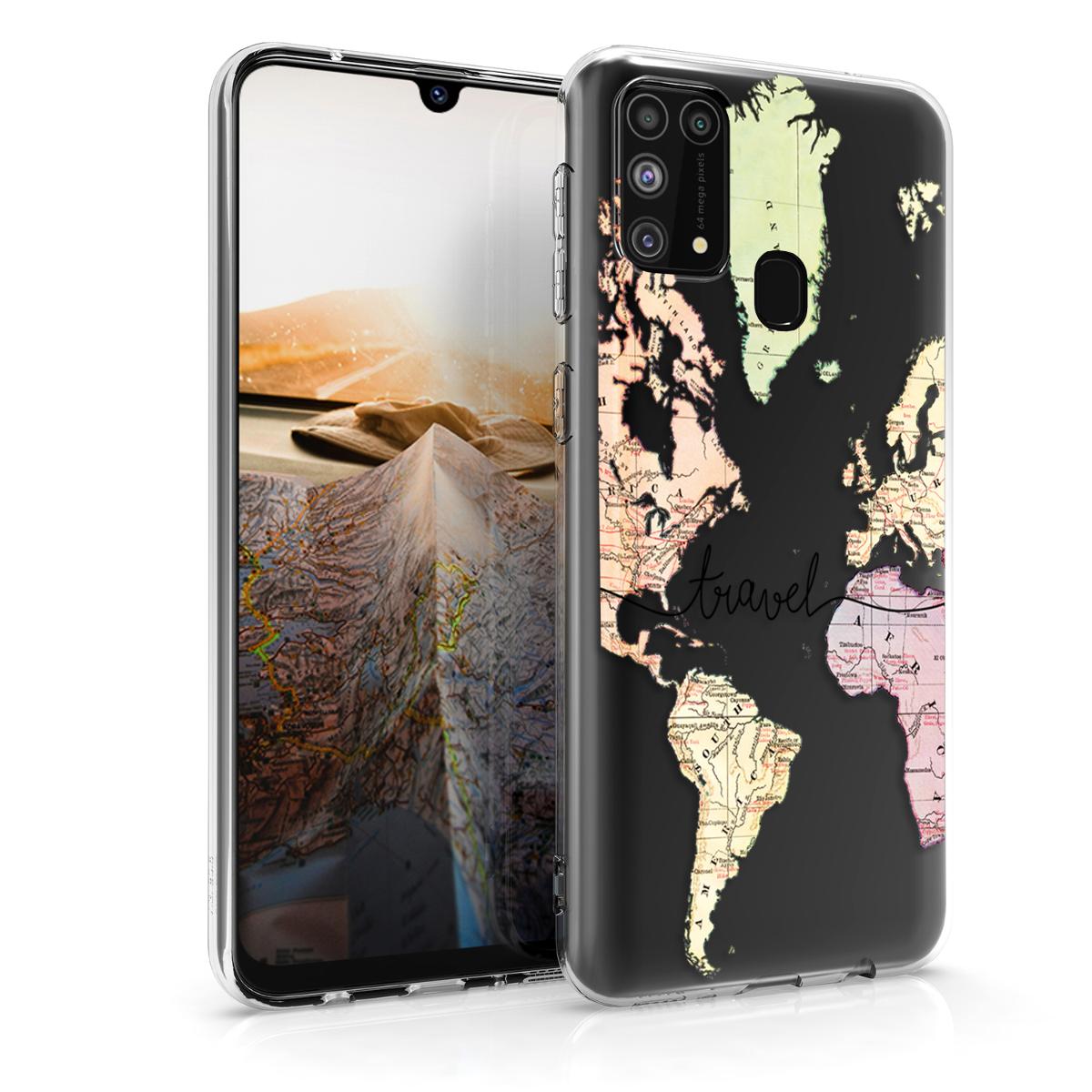 Kvalitní silikonové TPU pouzdro pro Samsung M31 - Travel Black / Multicolor / Transparent