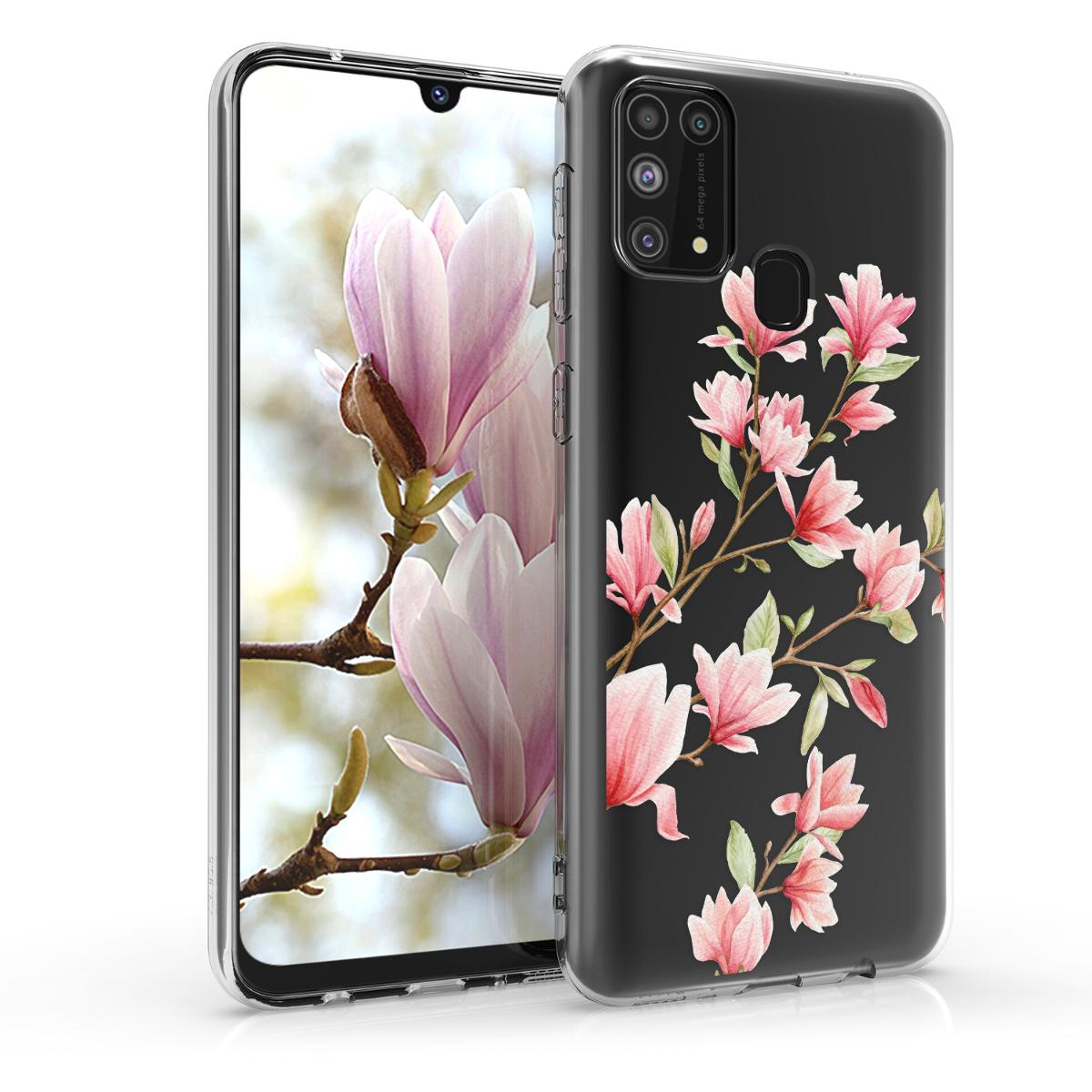Kvalitní silikonové TPU pouzdro pro Samsung M31 - Magnolie Pink / White / Transparent