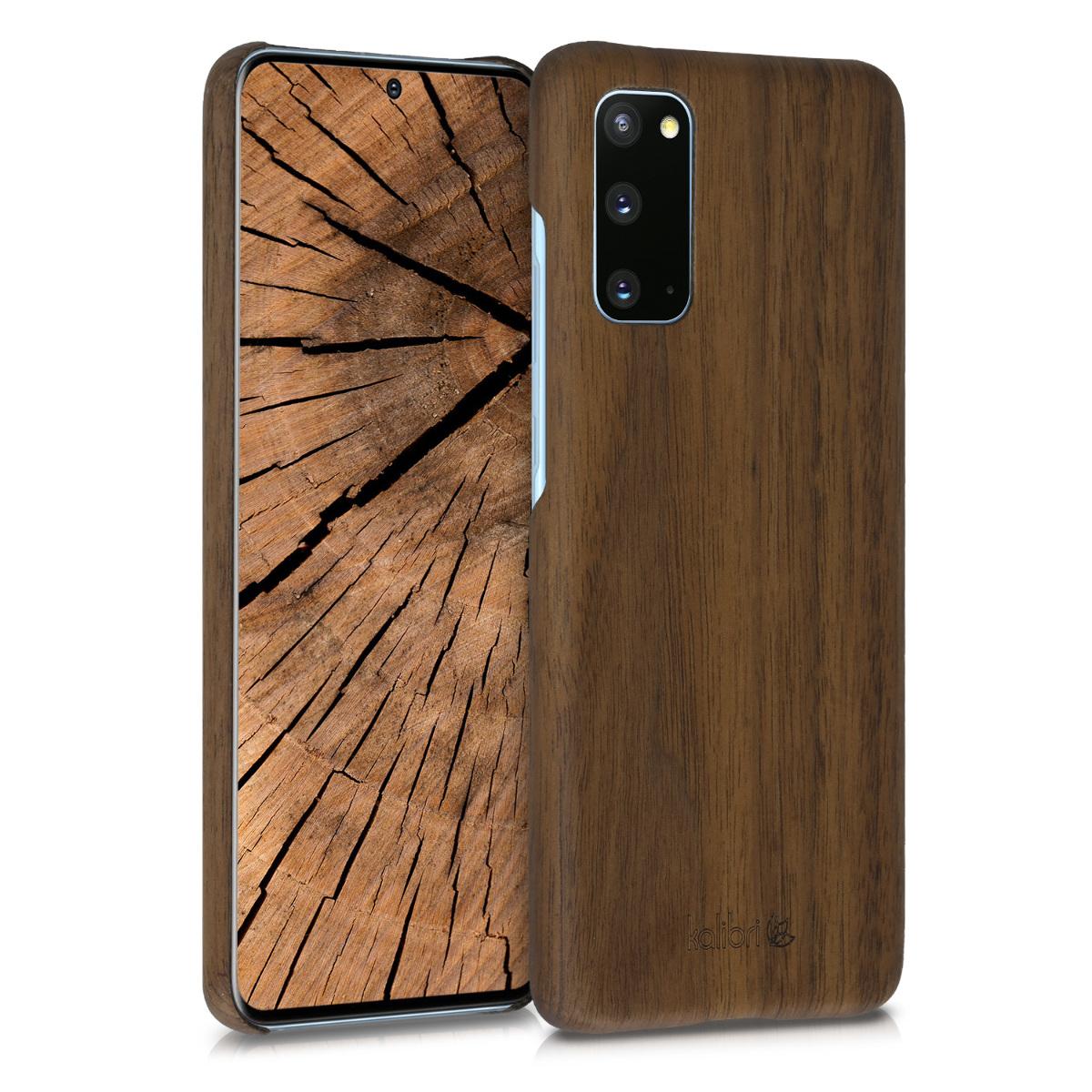 Tmavě hnědé dřevěné pouzdro / obal pro Samsung S20