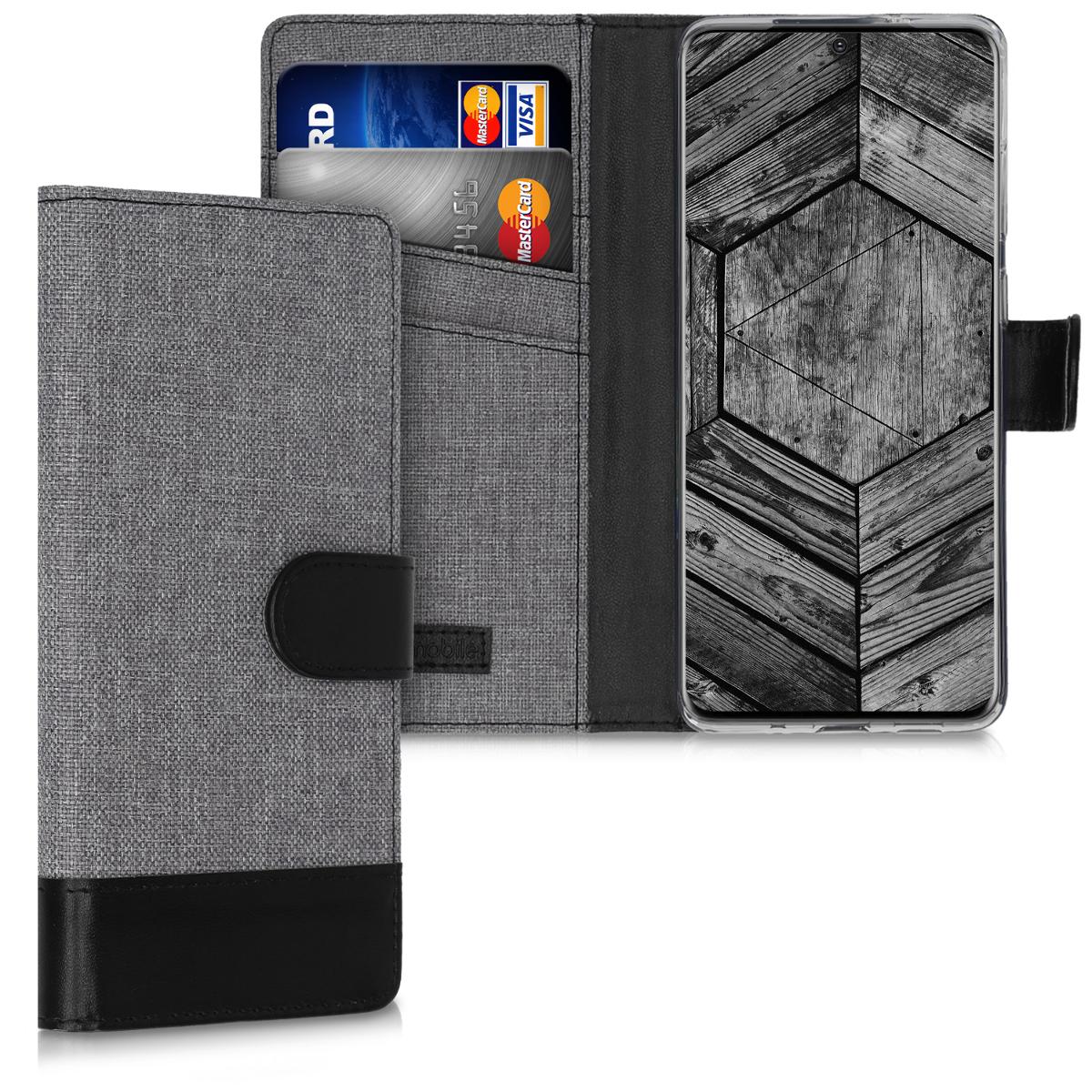 Šedé černé textilní peněženka pouzdro / obal pro Samsung S20 Plus