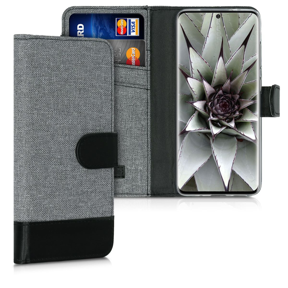 Šedé textilní peněženka pouzdro / obal pro Samsung S20 Ultra