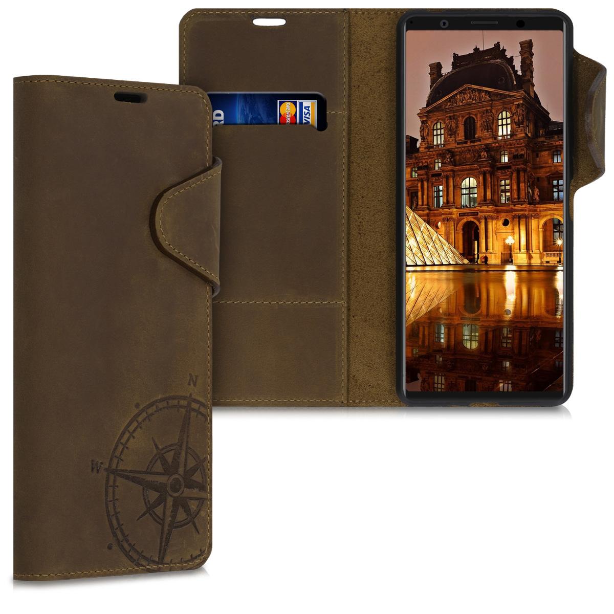 Kožené pouzdro   obal pro Sony Xperia 1 II - Navigační kompas hnědé