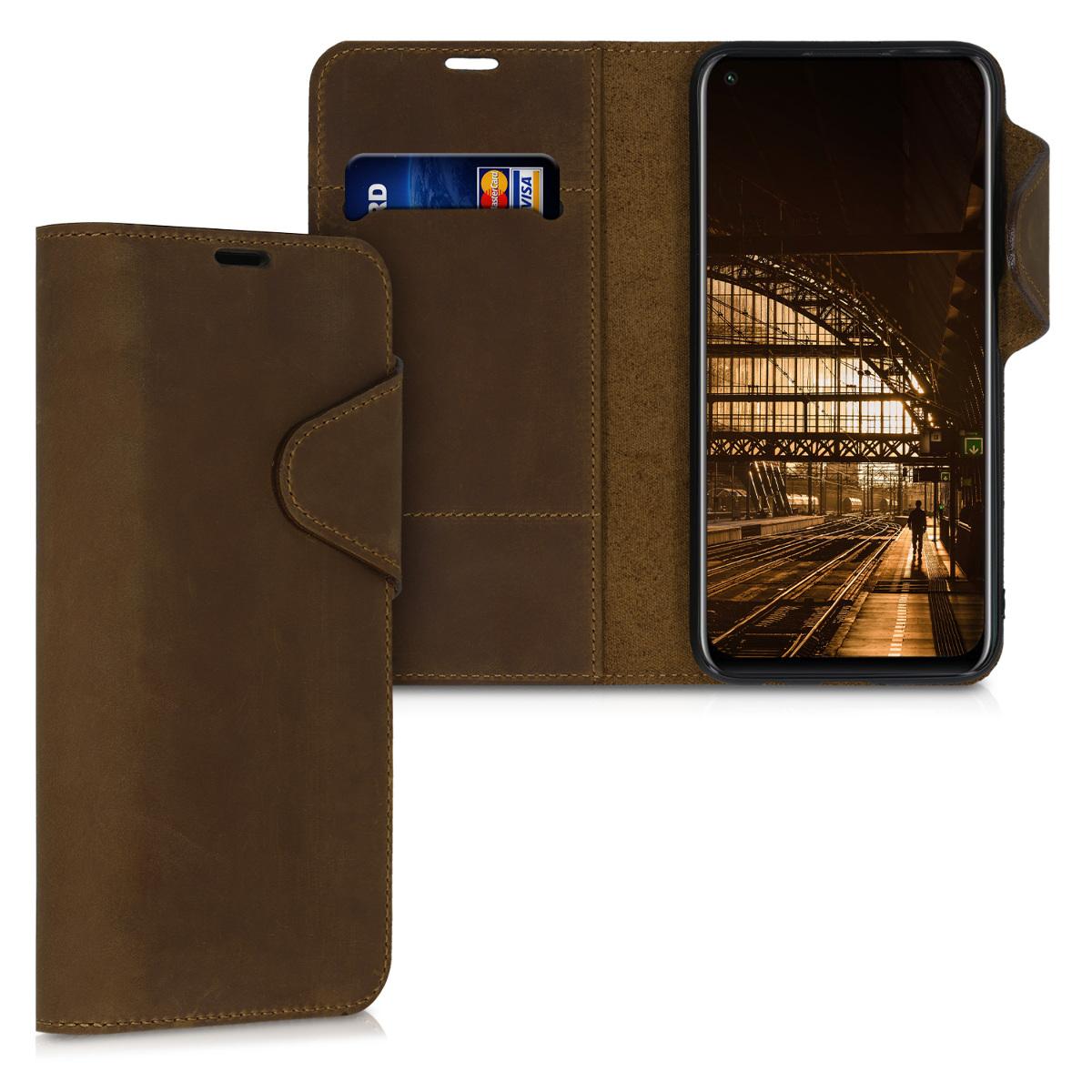 Pravé kožené hnědé pouzdro / obal ve stylu knihy pro Huawei P40 Lite