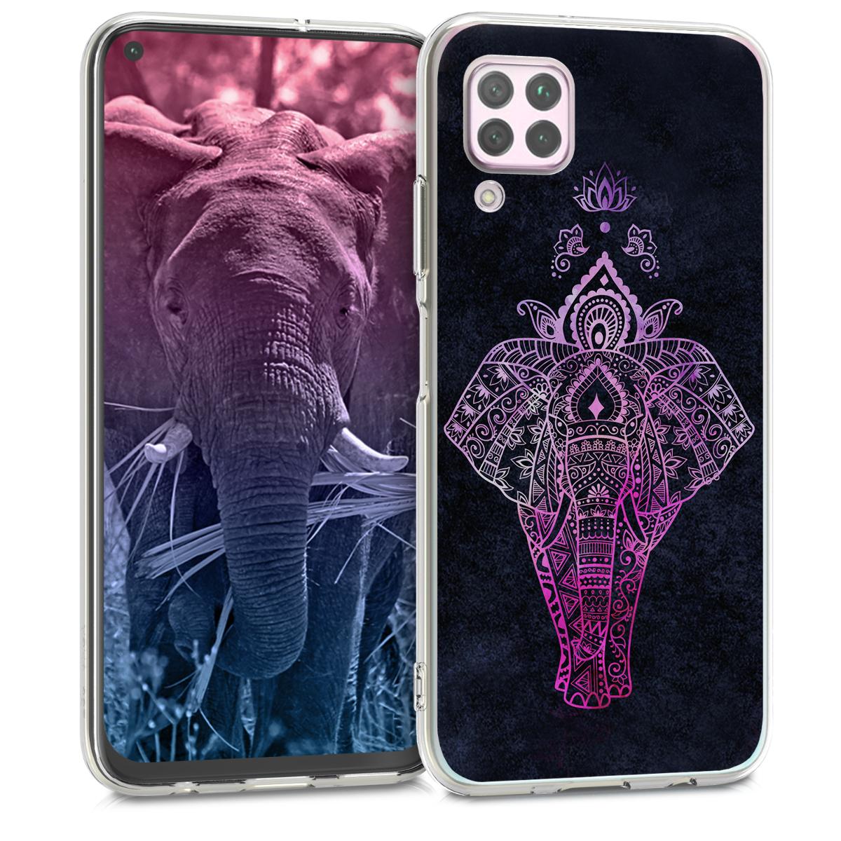 Silikonové antracitové pouzdro / obal růžová kresba slona pro Huawei P40 Lite