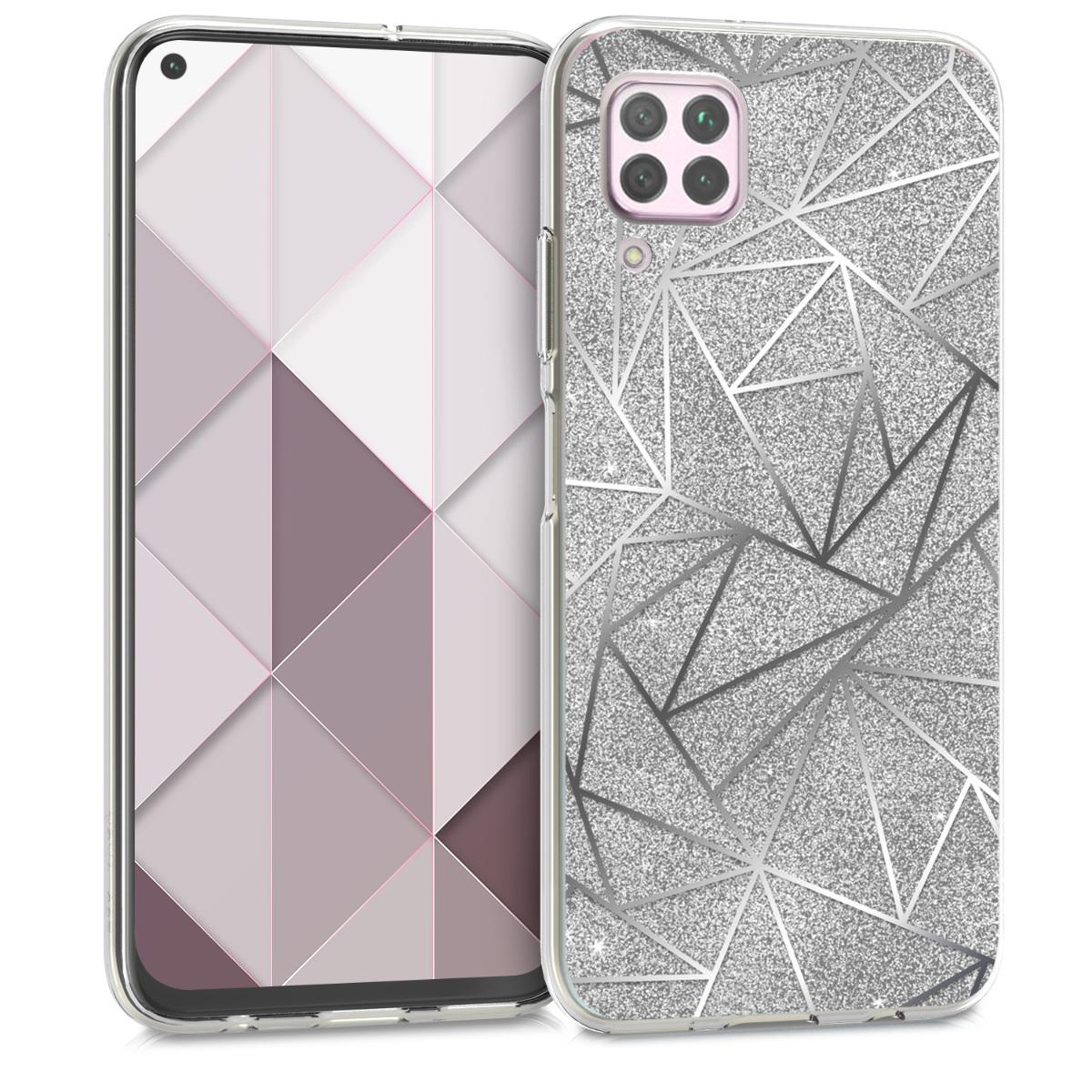 Silikonové pouzdro / obal pro Huawei P40 Lite s motivem stříbrných trojúhelníků