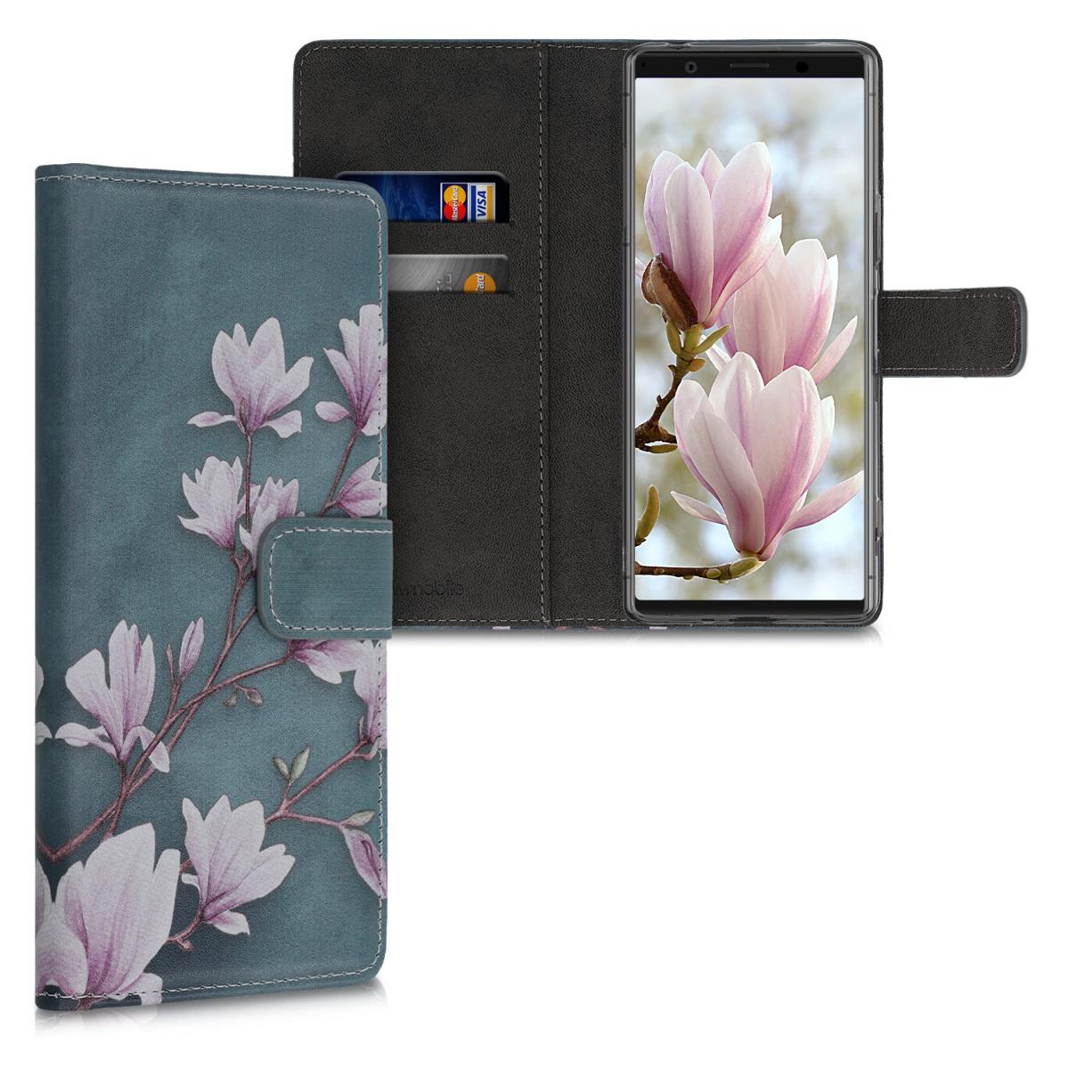 Kožené pouzdro   obal pro Sony Xperia 1 II - Magnolie Taupe / bílá / modré šedá