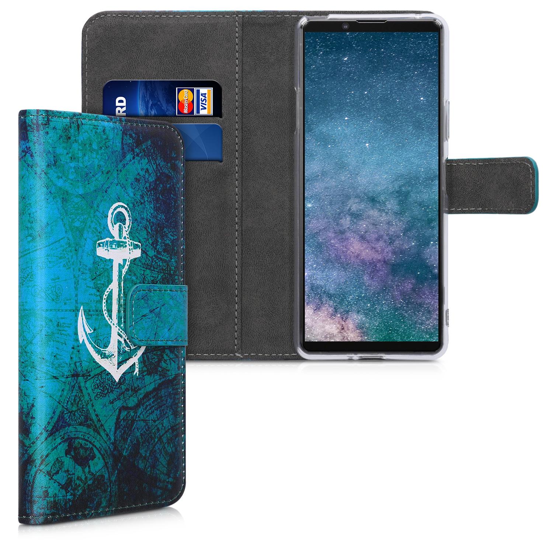 Kožené pouzdro | obal pro Sony Xperia 10 II - Anchor Map bílá / modré