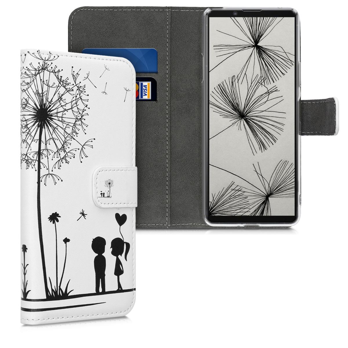 Kožené pouzdro | obal pro Sony Xperia 10 II - Pampeliška Láska černé / bílé