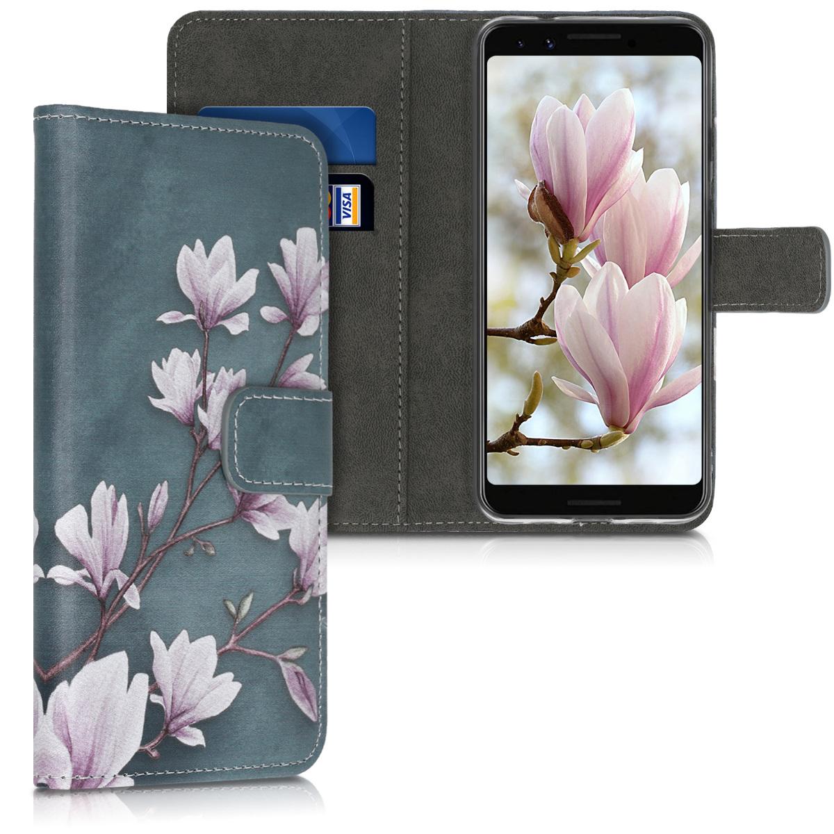 Kožené pouzdro | obal pro Google Pixel 3a - Magnolias Taupe / White / Blue Grey
