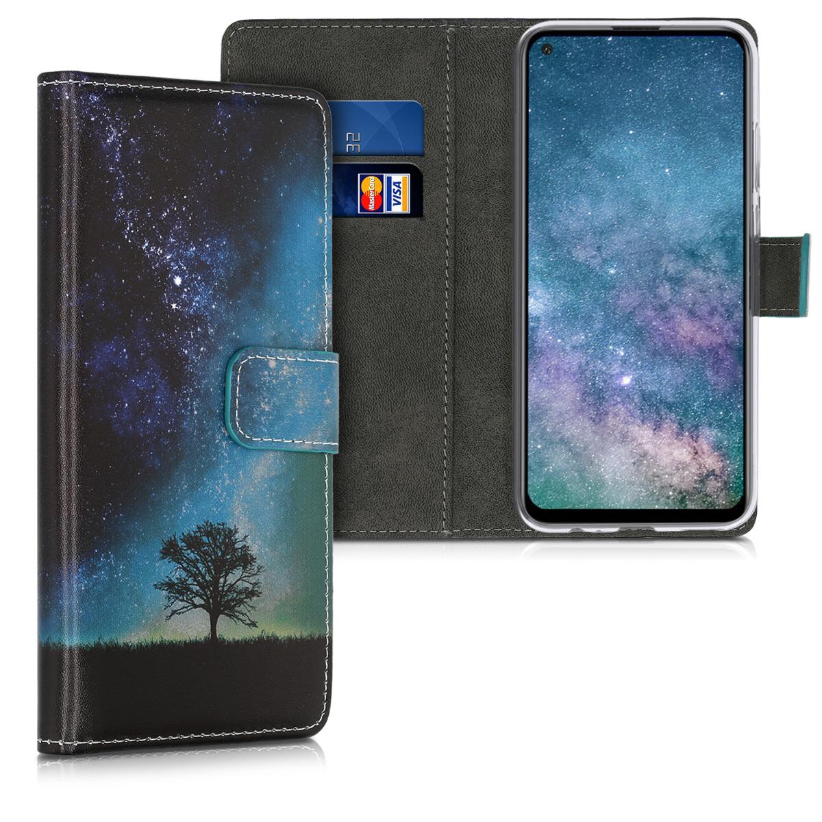 Modré kožené pouzdro / obal peněženka s vesmírnou oblohou pro Huawei P40 Lite E