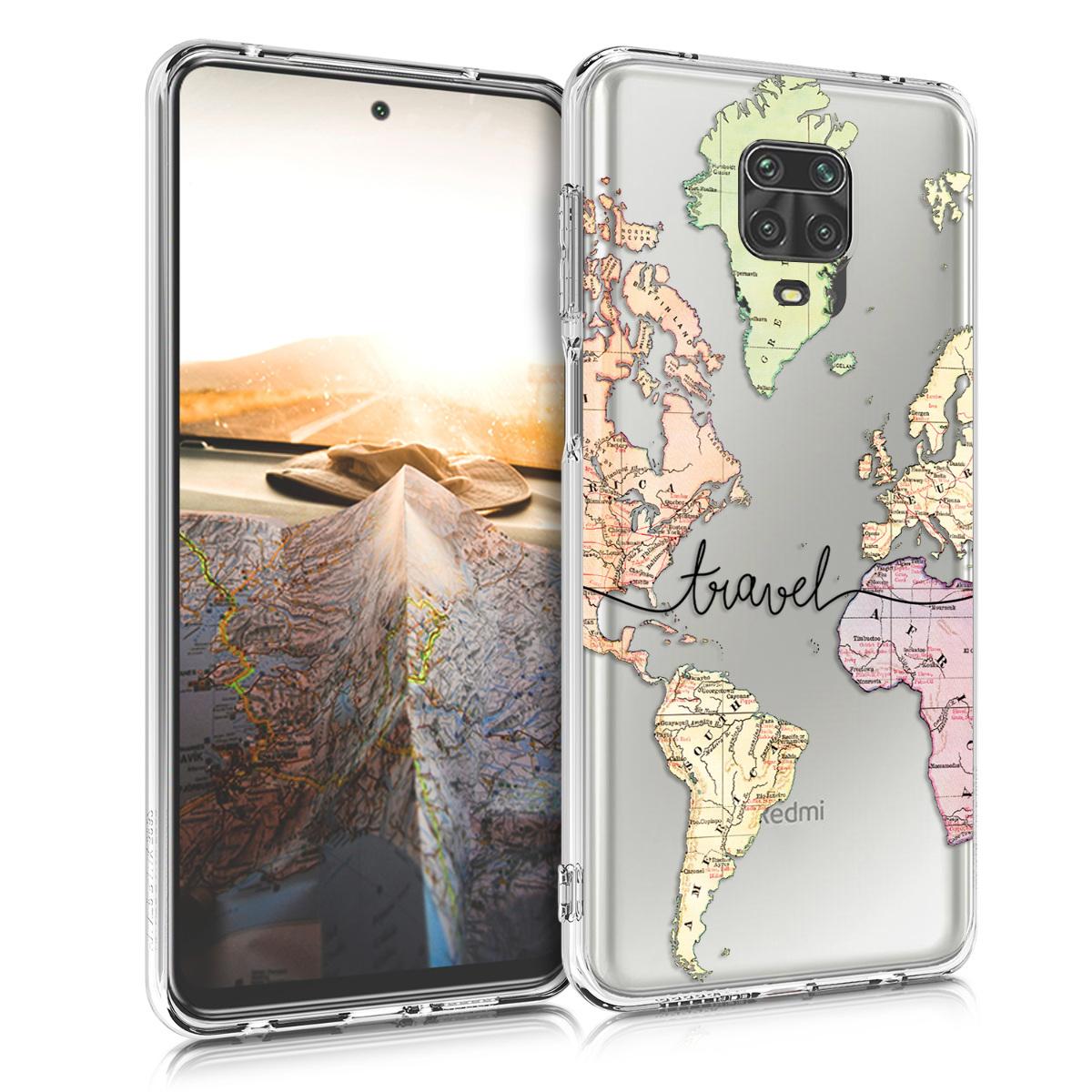 Kvalitní silikonové TPU pouzdro | obal pro Xiaomi Redmi Note 9S | 9 Pro | 9 - Travel černý / Multicolor / transparentní