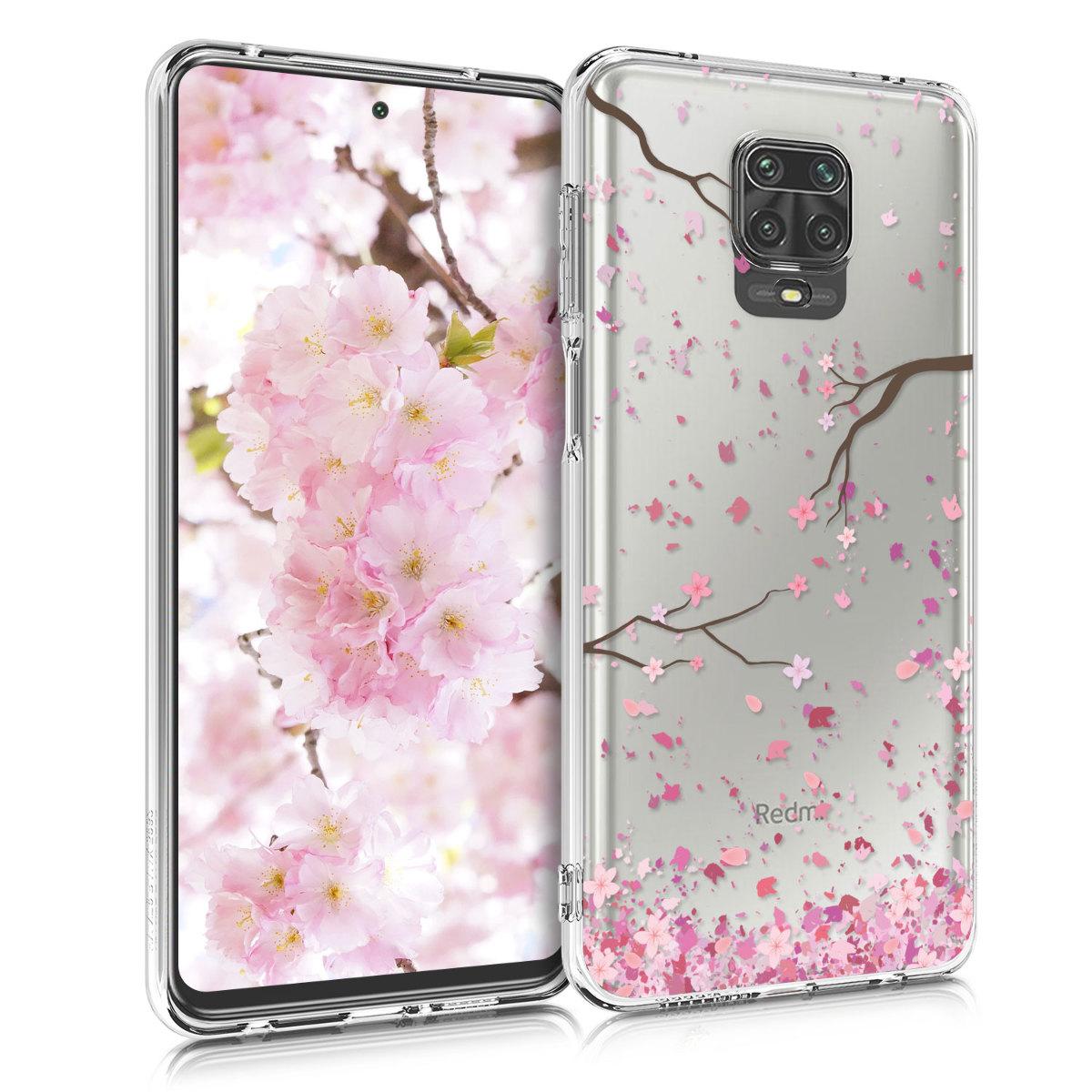 Kvalitní silikonové TPU pouzdro | obal pro Xiaomi Redmi Note 9S | 9 Pro | 9 - Cherry Blossoms růžový / tmavě hnědá / transparentní