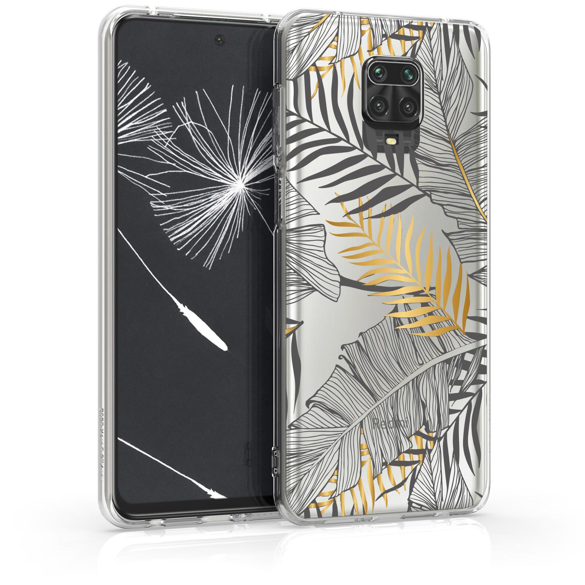Kvalitní silikonové TPU pouzdro | obal pro Xiaomi Redmi Note 9S | 9 Pro | 9 - Palmové listy zlatý / Grey / transparentní