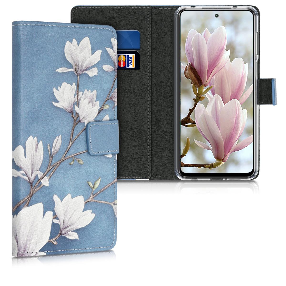 Kožené pouzdro | obal pro Xiaomi Redmi Note 9S | 9 Pro | 9 - Magnolie Taupe / bílá / modrý šedá