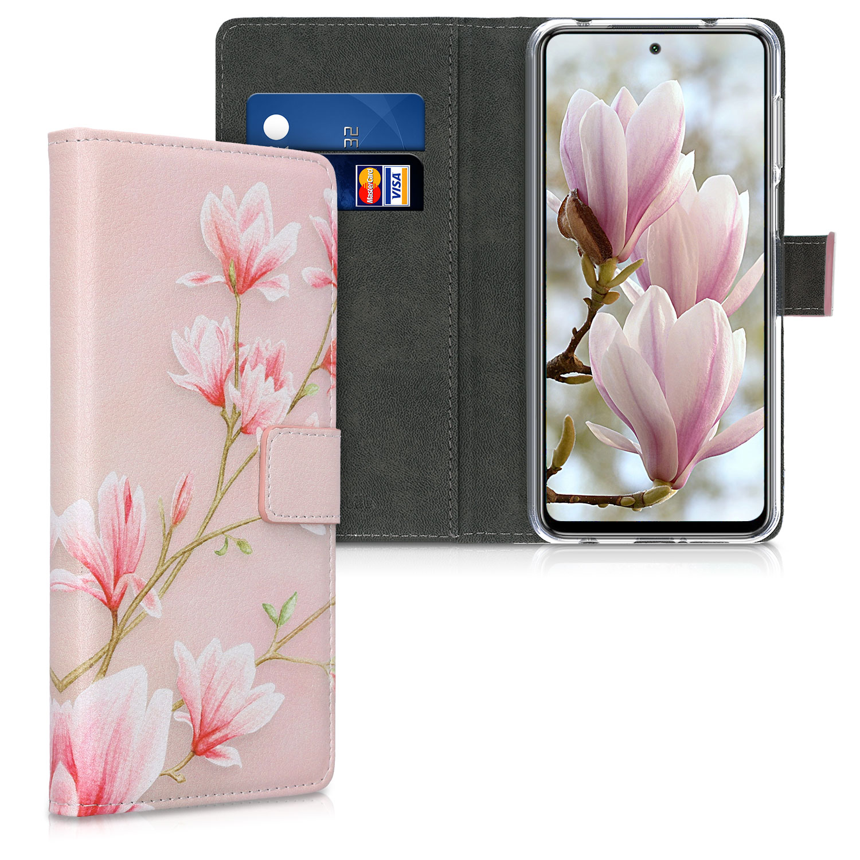 Kožené pouzdro | obal pro Xiaomi Redmi Note 9S | 9 Pro | 9 - Magnolie růžový / bílý / růžový Dusty