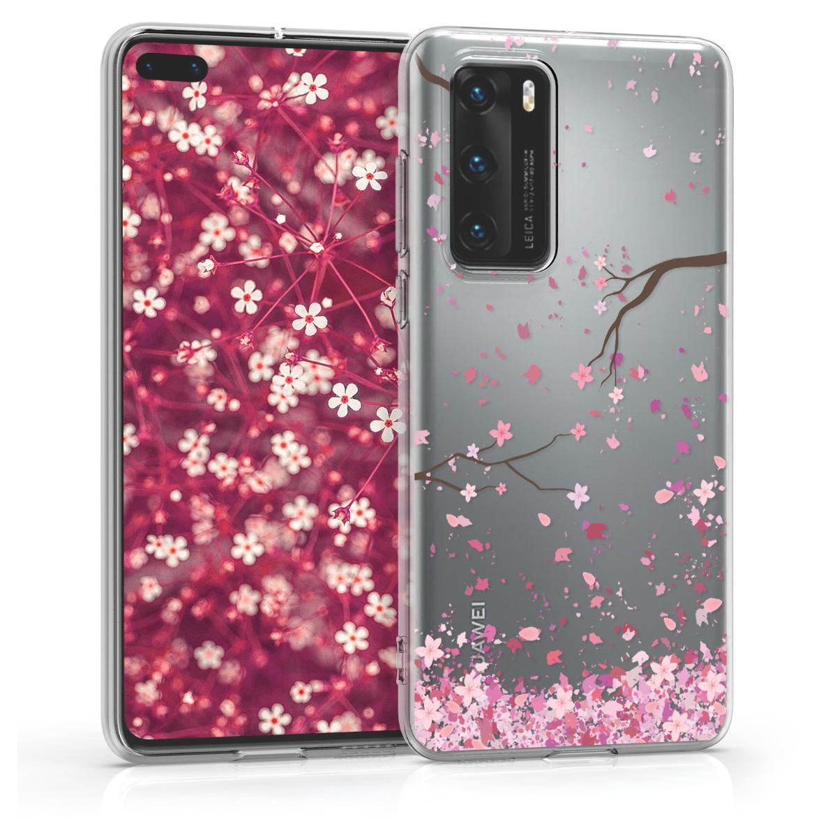 Růžové silikonové pouzdro / obal s motivem třešnových květů pro Huawei P40