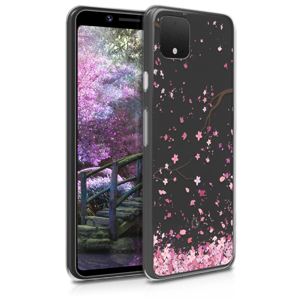 Kvalitní silikonové TPU pouzdro | obal pro Google Pixel 4 - Třešňové květy růžová / tmavě hnědá / průhledná