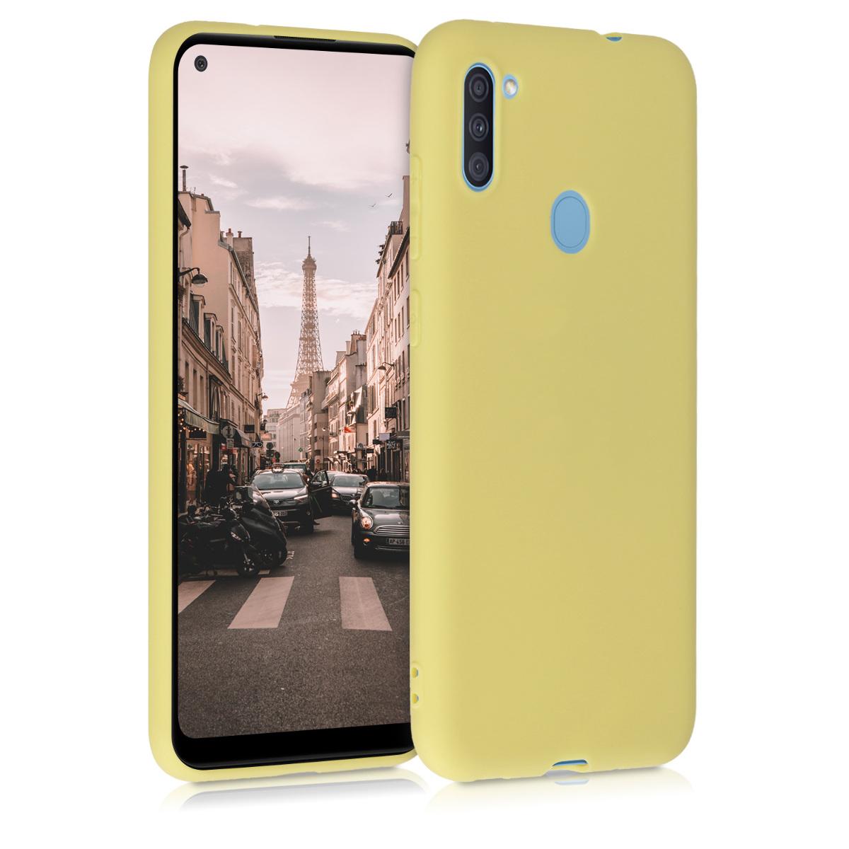 Kvalitní silikonové TPU pouzdro pro Samsung A11 - žluté matné